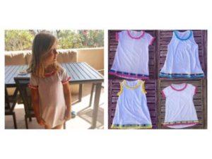 A sinistra: la t-shirt che ho regalato a Vittoria e da cui è nato DoDoÀ. A destra: Estrella t-shirt. La prima t-shirt con marchio DoDoÀ con pon pon e specchietti personalizzabile.