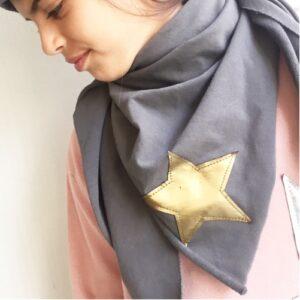bandana-grigia-stella-oro