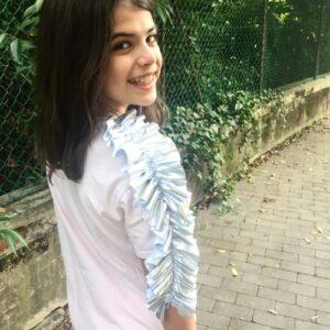 t-shirt-bambina-mono-rouches-argento